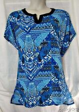 CJ BANKS $50 Darling Mixed Artsy Patterns Black Blues Slinky Style Top 2X NWT