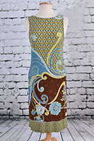 ANDRE OLIVER Size 4 Shift Sleeveless Dress Paisley BOHO Brown Blue Lime Green