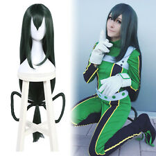 My Hero Academia Tsuyu Asui Cosplay Wig Dark Green Long Straight Styled Hair