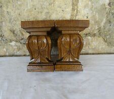 Two French Antique Carved Wood Corbel - Wall Shelf Decor - Oak Wood