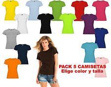 Pack 5 camisetas blancas color 100% algodon lisas Roly Mujer Jamaica