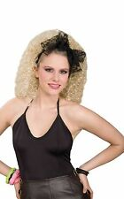 Girly Lacey Hair Black Scarf Bow Adult Ladies Fancy Dress Party Accessory 80s