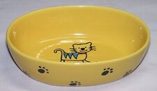 Silly Kitty Oval Cat Dish, 2 cups Yellow Super Cute by PetRageous Designs