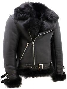 Men's Black Crosszip Toscana Sheepskin Leather Biker Jacket