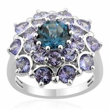 London Blue Topaz and Tanzanite 925 sterling silver ring (Size 5,6,7)