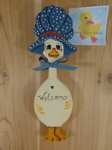 """WELCOME GOOSE Wall Plaque White Blue Bonnet 13"""" Hand Painted Wood"""