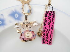 Betsey Johnson fashion jewelry Crystal resin phone pendant necklace # C082