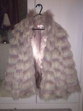 Gharani Strok Medium Coat Pink And Cream Colour  Uk 12 Fur