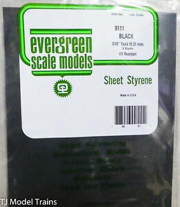 "Evergreen Styrene #9111 (8 Black Sheets) .010"" Thick (0.25mm) 21"" x 8"""
