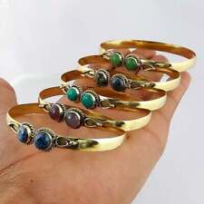 Plated Lot 100pc Cuff Bangles Lb-92 Turquoise & Mix Gemstone 925 Sterling Gold