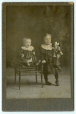 VINTAGE CLASSIC VICTORIAN TOYS: Children with Doll and Toy Goat Cabinet Card