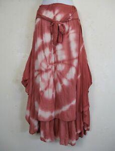 Lagenlook Tie&Dye Viscose/Cotton Mix Double Layered Summer Skirt  One Size 12-16