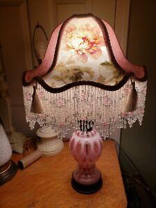 Fenton Pink Coin Dot Lamp And Shade