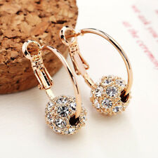 Fashion Austrian Crystal Ball Gold Stud Earrings Wedding Jewelry Gift for Lady