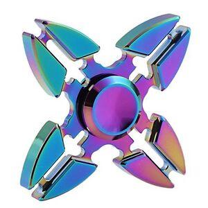 Finger Spinner - Metal Hand Fidget EDC Desk Stress Relief Toy, Rainbow 4 Star