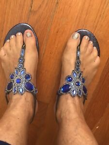 Gorgeous Blue Leather Crystal Embellished Thong Sandals 8