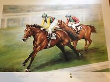The Triple By Michelle Perry signed by artist and Lester Piggott