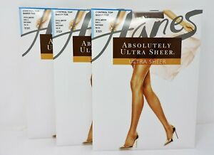 Hanes Q00707 Absolutely Ultra Sheer Control Top Pantyhose 3 Pair