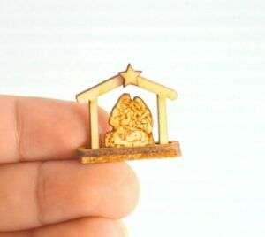 Miniature Dollhouse Christmas Nativity  Wood Scene Home Decor  Scale 1:12