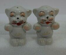 Vtg Kitty Cat Salt & Pepper Shakers I'm Salt  I'm Pepper Japan Porcelain Cute