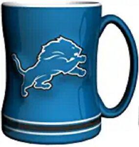 Detroit Lions 14 oz Team Color Sculpted Logo Relief Coffee Mug  - NEW