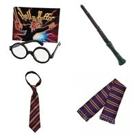 HARRY POTTER WIZARD SCHOOL BOY FANCY DRESS  SCARF GLASSES MAGIC WAND BOOK WEEK