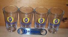 FOSTERS AUSTRALIAN LAGER 4 BEER PINT GLASSES & BOTTLE OPENER NEW