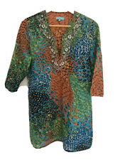 BLUE ILLUSION ladies size M beach beaded cover up cotton embellished kaftan