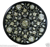 """18"""" Black Marble Coffee Table Top Mother of Pearl Gems Inlay Mosaic Decor H1859"""