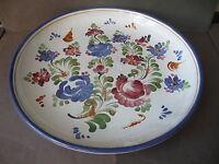 Große flache runde Schale Platte mit Bauernmalerei Graf Keramik Stoob 36 cm