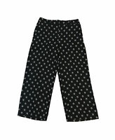 Ann Taylor Wide Leg Black, White Ankle Pants Casual Work High Rise Floral XS 2