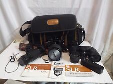 Sears KS-2 CAMERA BUNDLE LOT 6 Lenses Sigma Mirror Telephoto & Extras Carry Bag