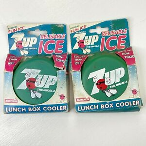 Set of 2 Vintage 1996 7up Lunch Box Coolers - Bottle Cap Shaped Novelty Ice Pack