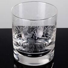 1 Becher Glas Tumbler Whiskyglas Whiskeyglas Theresienthal Radgravur Vogel 9 cm