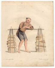 China-Chinesen-Lastenträger-Träger-Brennholz-Holz - Kst. Dadley 1800 Ethnologie