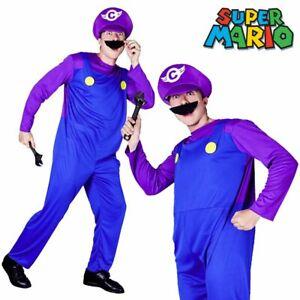 Mario Bros Waluigi Fancy Dress Bad Plumber Workman Mens Costume