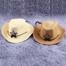 Children Western Cowboy Straw Sun Hat Wind-proof Cap Big Wide Brim Sunbonnet AZ