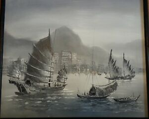 Vintage oil painting rare gray color on canvas seaport sailing China Junk seapor