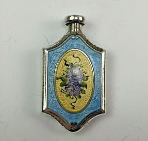 Antique Sterling Silver & Guilloche Enamel Perfume Bottle