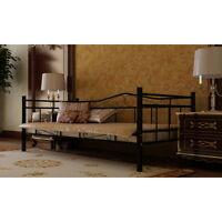 Tagesbett Einzelbett 90x200 Metallbett Metall Bett Bettgestell Sofa schwarz NEU*