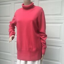 MINT!  Eileen Fisher L Large Coral Red Cashmere  Sweater Top Pullover Turtleneck