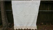 "Vintage Off White Hand Crochet Trim Window Curtain 35""X29"" Free Shipping"