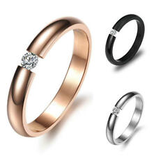 Women 3mm Stainless Steel Wedding Anniversary Ring Cubic Zirconia Band Size J-q Rose Gold 8(q)