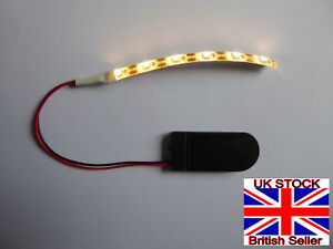1 PC 6 VOLT CR2032 COIN BATTERY OPERATED WARM WHITE 10CM LED STRIP WITH SWITCH