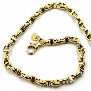 9K YELLOW GOLD NAUTICAL MARINER BRACELET OVALS 3.5 MM THICKNESS 8.3 INCHES, 21CM