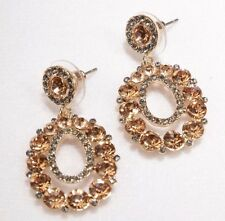 Pierced Earrings Rose Gold Super Bling 1.5 inch Drop Wedding Formal Prom Pageant