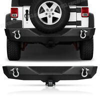 Rock Crawler Rear Bumper Winch Plate LED Hole +D-Ring For 07-18 Jeep Wrangler JK