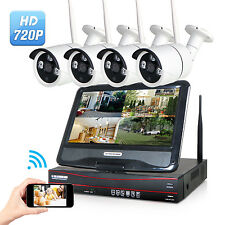 4CH 720P HD NVR Wireless IP Network CCTV Home Security Camera LCD Monitor System