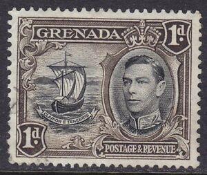 GRENADA 1938-50 SG154b 1d PERF 12x13½ BLACK & SEPIA FINE USED