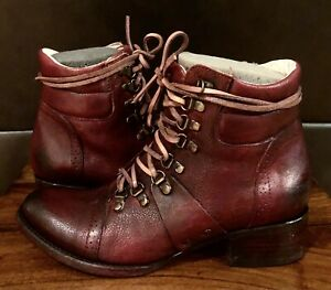 EXCELLENT FREEBIRD BY STEVEN LEATHER CAGE BURGUNDY WINE ANKLE BOOTS SIZE 8  8.5